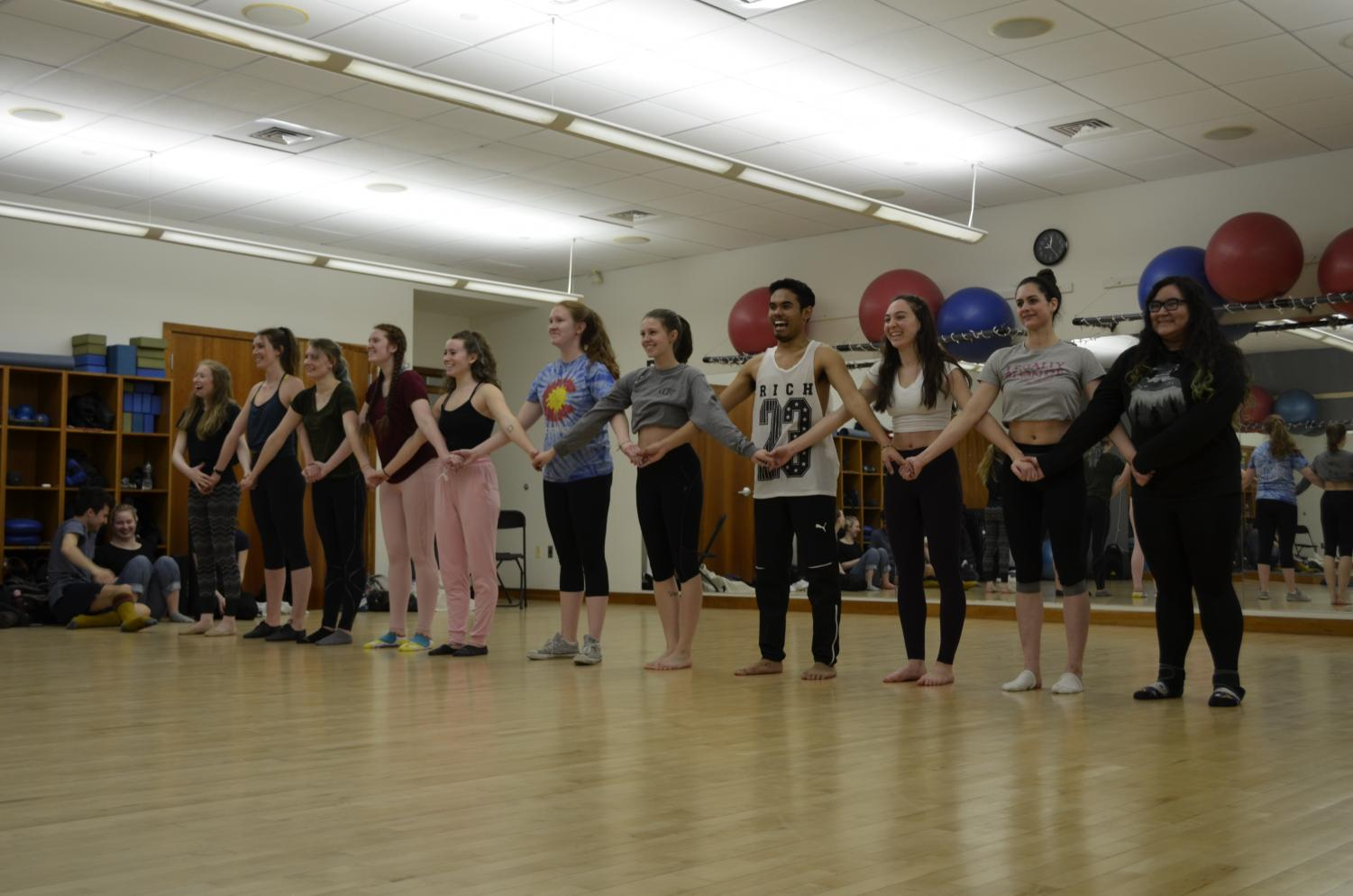 Members of the dance team practicing in preparation for the showcase.