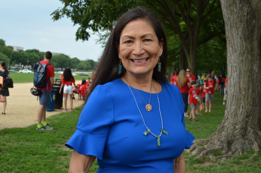 Deb Haaland at an event raising awareness for air pollution.