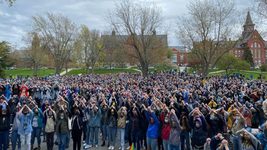 Sexual assault protest at UVM, photo by the Burlington Free Press.